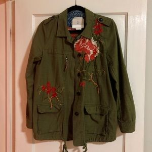 Beautiful embroidered army-green jacket by Hei-hei